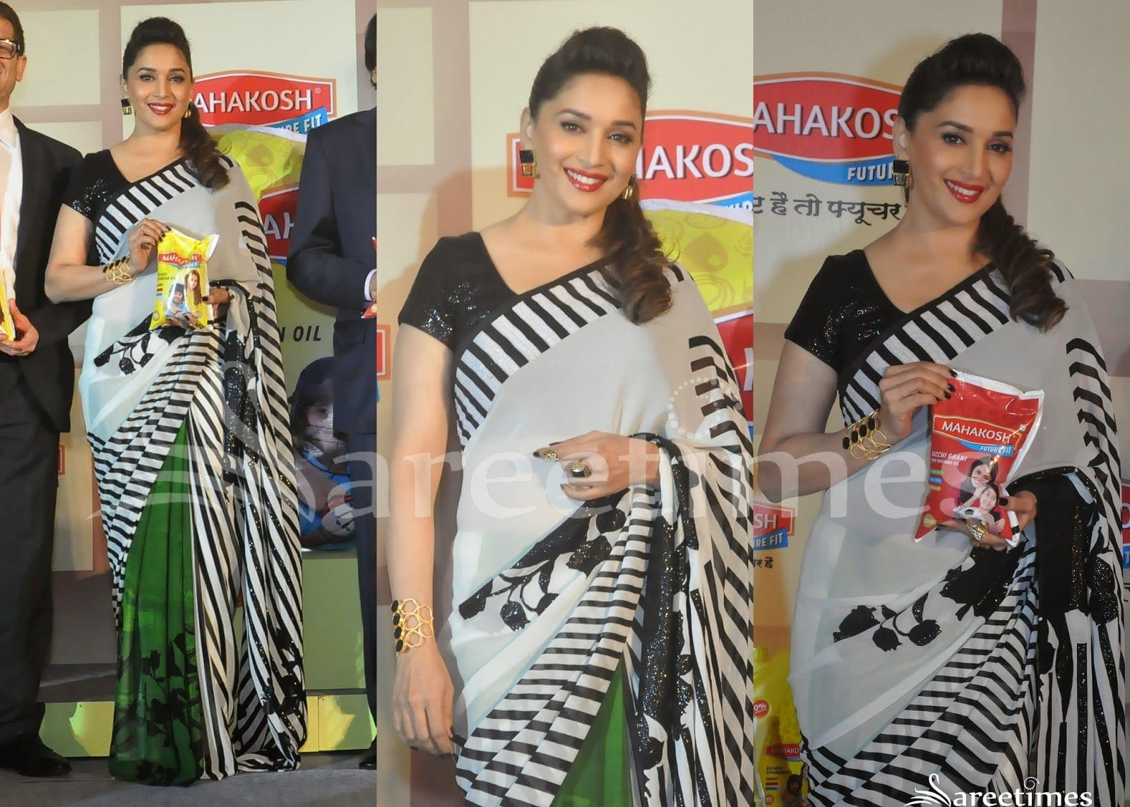 madhuri-dixit-vertical-stripes-saaree How to Wear Saree for Short Height? 14 Pro Tips for Short Girls