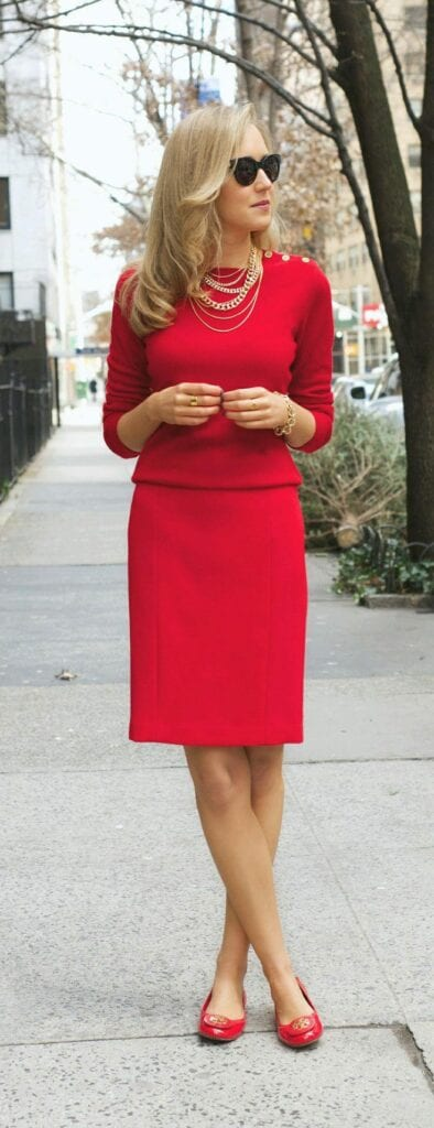 office-wear-red-shoes-394x1024 Women's Outfits with Red Shoes- 30 Outfits to Wear with Red Shoes