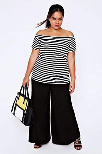 offshoulder-tops Palazzo Pants for Plus Size–24 Palazzo Outfit Ideas for Curvy Girls