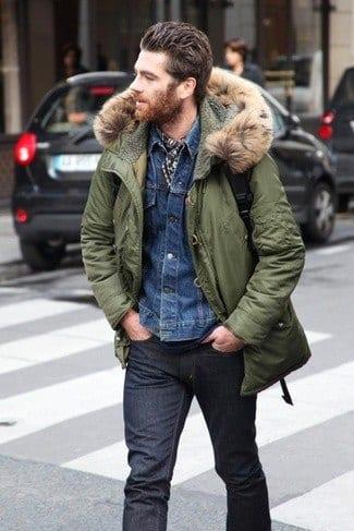 parka-denim-jacket-crew-neck-t-shirt-large Denim Jackets Outfits For Men – 17 Ways To Wear Denim Jacket