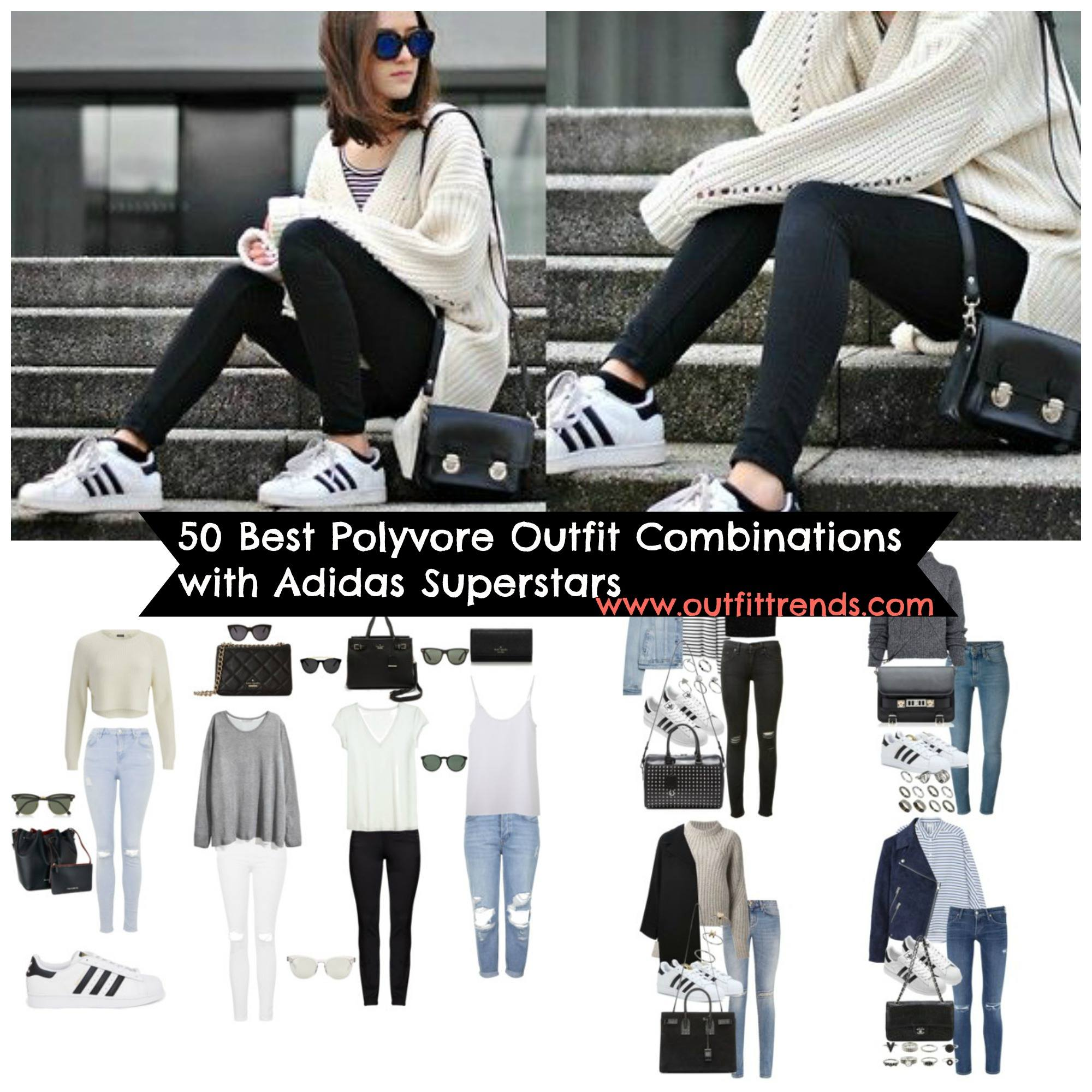 polyvore-outfits-with-adidas-superstars-for-women 50 Best Polyvore Outfits with Adidas Superstars for Girls to Copy