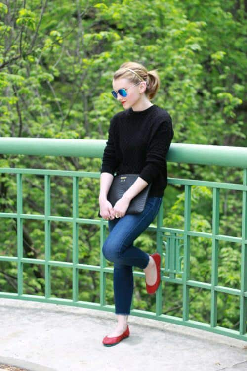 red-pumps-casual-wear Women's Outfits with Red Shoes- 30 Outfits to Wear with Red Shoes