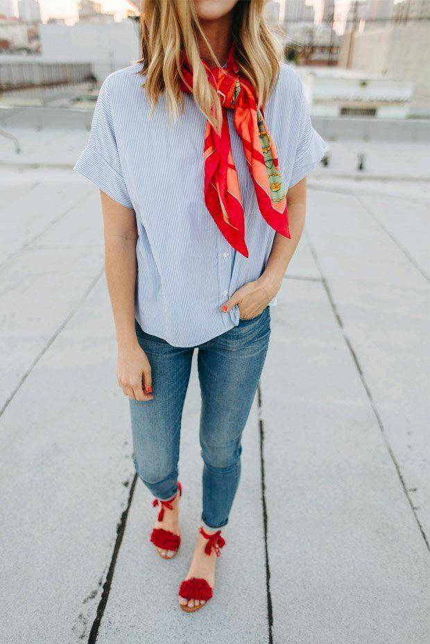 red-scarf-and-red-shoes Women's Outfits with Red Shoes- 30 Outfits to Wear with Red Shoes