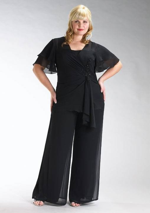 some-fancy-event-look Palazzo Pants for Plus Size–24 Palazzo Outfit Ideas for Curvy Girls