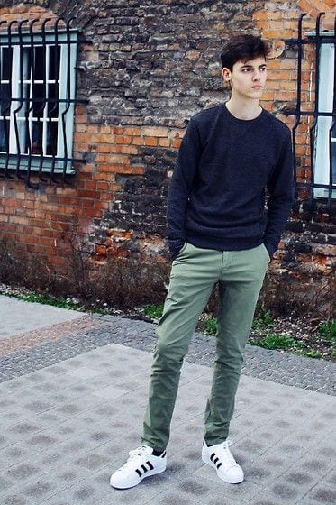 sweater-with-adidas-superstars Sweater outfits for men – 17 Ways to Wear Sweaters Fashionably