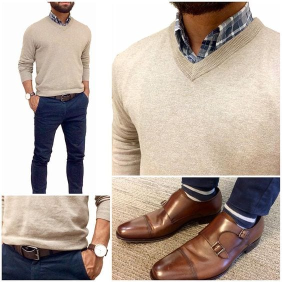 sweater-with-collared-shirt Sweater outfits for men – 17 Ways to Wear Sweaters Fashionably