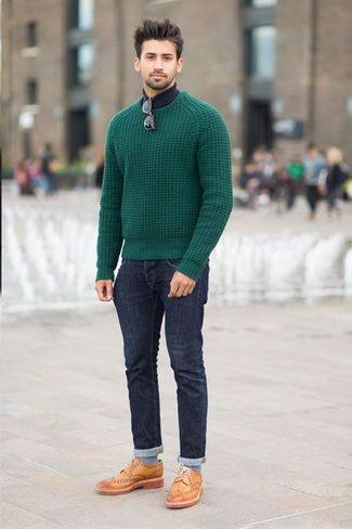 sweater-with-leather-brogues Sweater outfits for men – 17 Ways to Wear Sweaters Fashionably