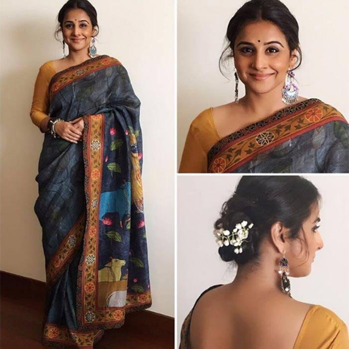 vidya-balan-saree-statement-jewelery How to Wear Saree for Short Height? 14 Pro Tips for Short Girls