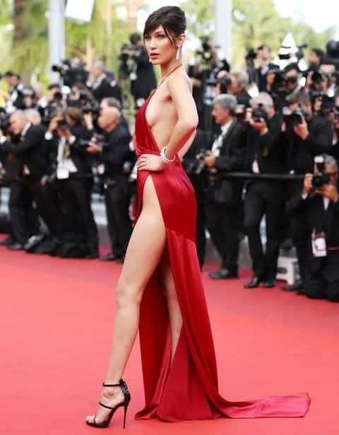 2-bella-hadid-red-dress Red Outfits For Women-18 Chic Ways To Wear Red Outfits