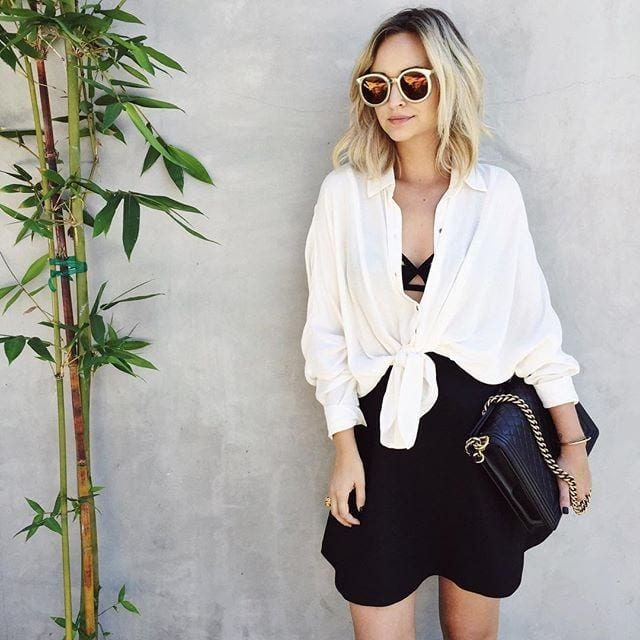 414e8db2d1d69728_tieshirt9-1 White Shirt Outfits-18 Ways To Wear White Shirts For Girls