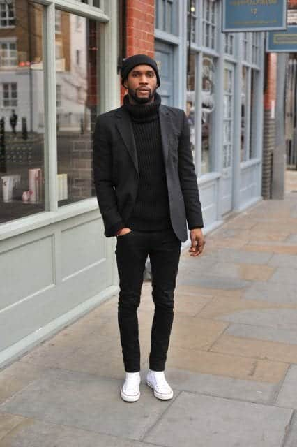 Black-turtle-next-shirt-with-black-blazer Black Shirts Outfits for Men - 19 Ways to Match Black Shirt