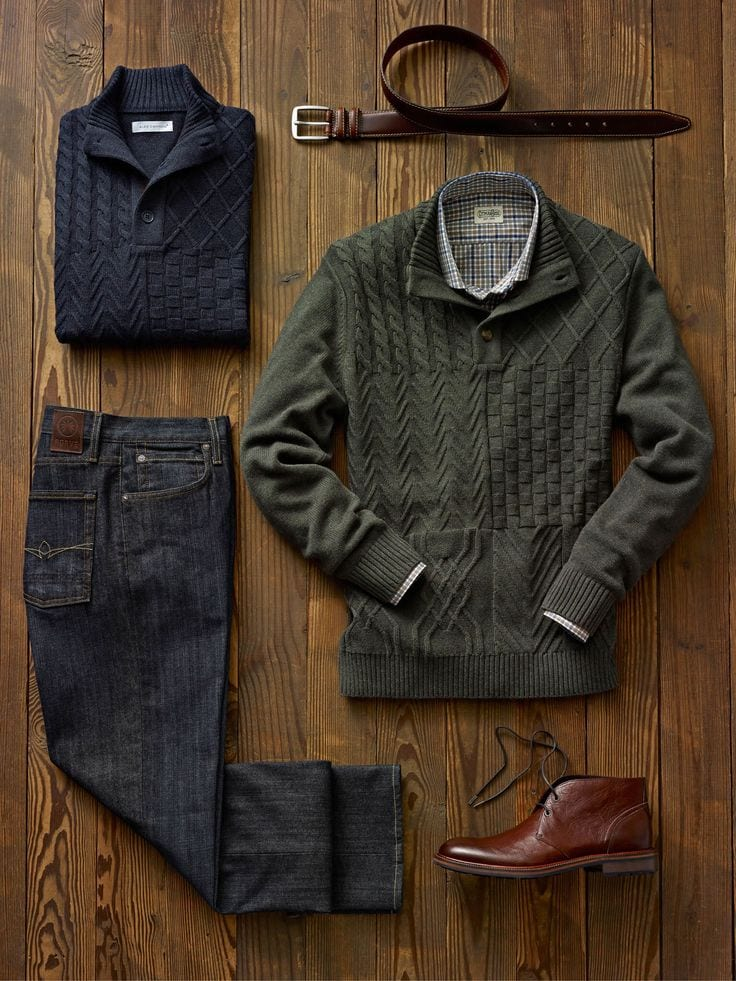 Checkshirt-with-sweater-and-jeans Men Polyvore Outfits– 25 Best Polyvore Combinations For Guys