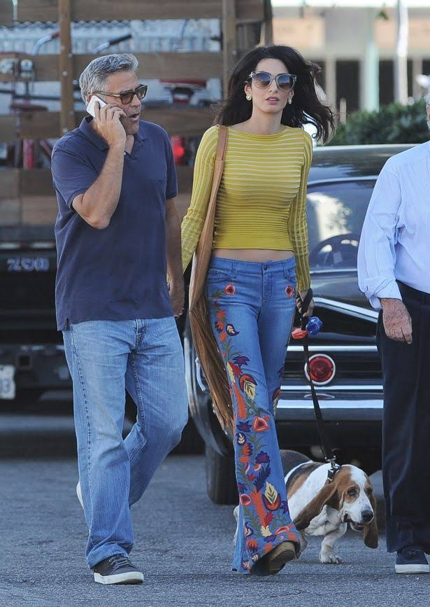 George-Clooney-and-his-wife-Amal-Alamuddin-take-their-hound-dog-for-a-walk-on-the-set-of-Suburbicon How to Wear Embroidered Jeans?16 Embroidered Jeans Outfits
