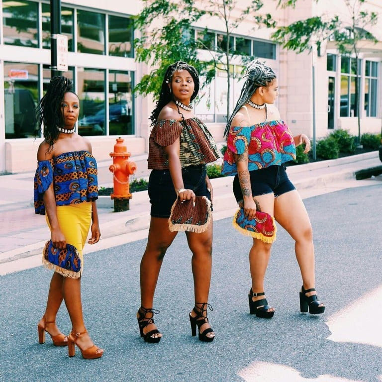 Kitenge-off-shoulder-tops Kitenge Dresses for Young Girls-18 Cute Kitenge Ankara Dress