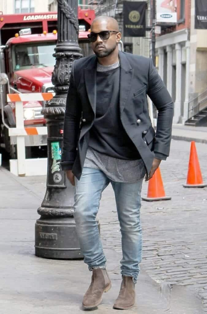 Kneya-West-Chelsea-Boots-with-black-shirt-675x1024 Black Shirts Outfits for Men - 19 Ways to Match Black Shirt