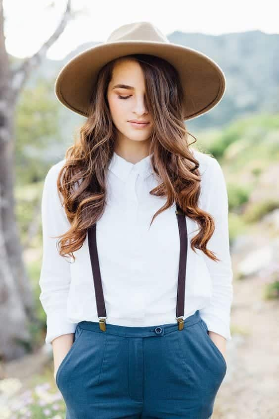 Narrow-Suspender-Paired-With-White-Shirt-And-Torquoise-Pants-Looks White Shirt Outfits-18 Ways To Wear White Shirts For Girls