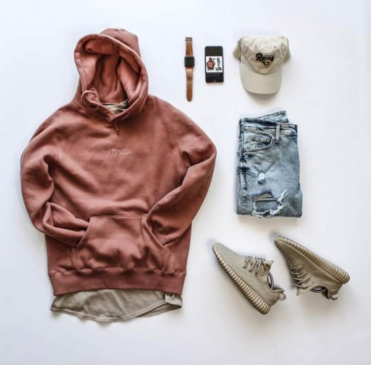 Ripped-jeans-and-pink-hoody Men Polyvore Outfits– 25 Best Polyvore Combinations For Guys