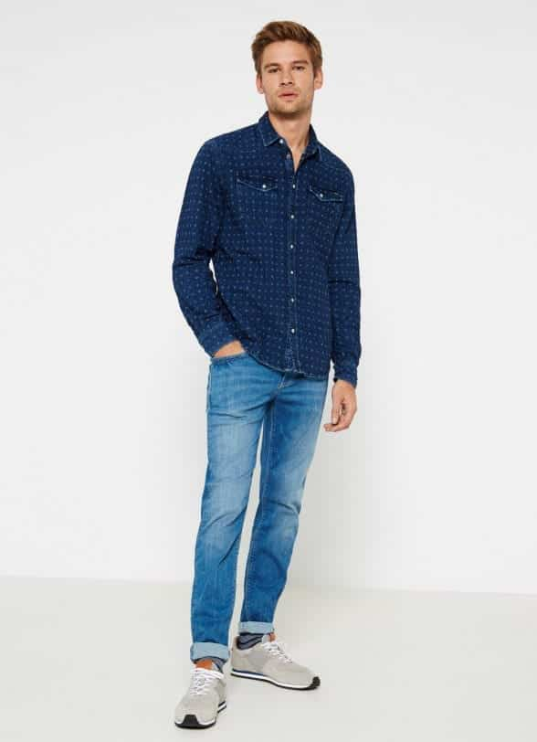 Polka Dot Dress Shirt with Jeans