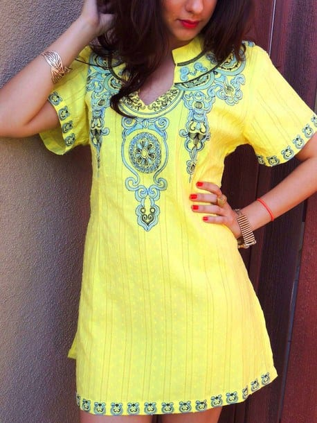 Yellow-embroidered-tunic Yellow Outfits For Women-14 Chic Ways to Wear Yellow outfits