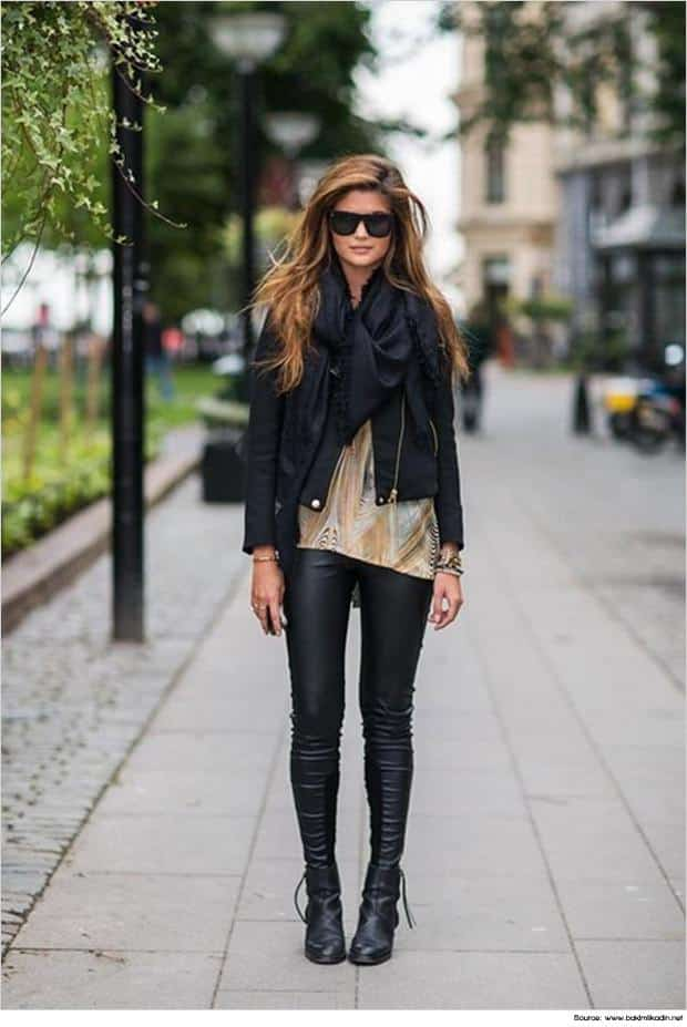 blackboots1 Outfits with Black Leggings – 21 Ways to Wear Black Leggings