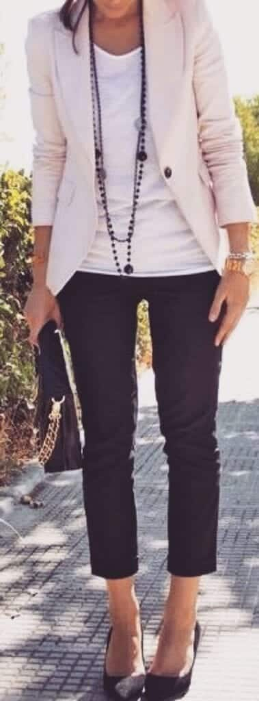 blazer-with-crop-pants-outfits-379x1024 Women Cropped Pants Outfits- 17 Ideas How To Wear Crop Pants