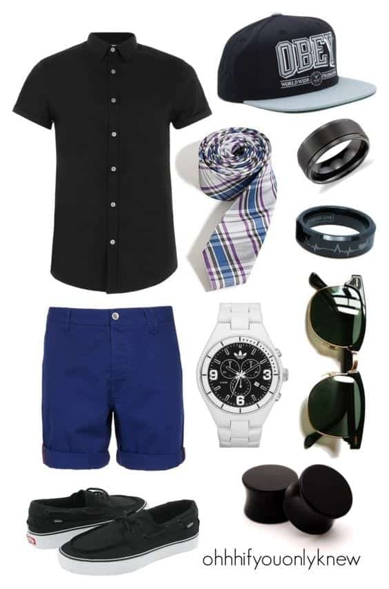blue-shorts-and-black-shirt-with-tie Men Polyvore Outfits– 25 Best Polyvore Combinations For Guys