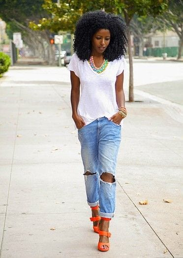 bold-color-heels-with-jeans Jeans Outfits in Heels - 20 Ways To Wear Jeans With Heels