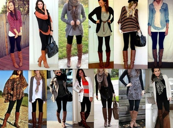 boots-brown-1 Outfits with Black Leggings – 21 Ways to Wear Black Leggings