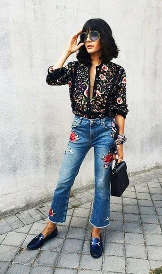 button-down-blouse-jeans-driving-shoes-large-21248 How to Wear Embroidered Jeans?16 Embroidered Jeans Outfits