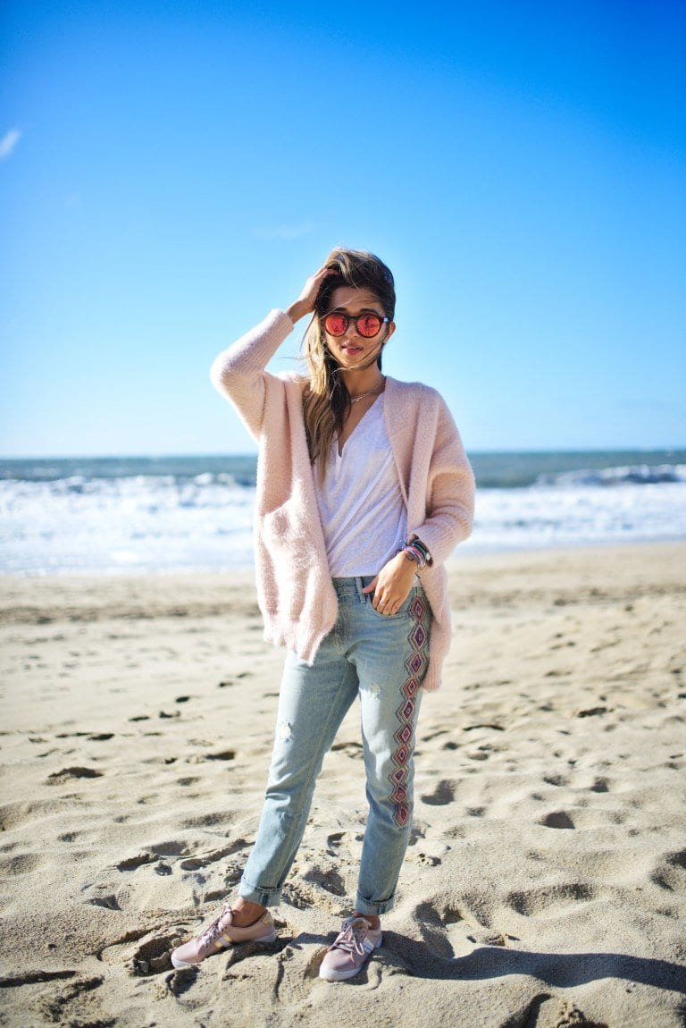 cuppajyo-sanfrancisco-styleblogger-fashion-lifestyle-travelblogger_embroideredjeans_sandrinerose_kayu_pinkcardigan_beachstyle_casualstyle_8 How to Wear Embroidered Jeans?16 Embroidered Jeans Outfits