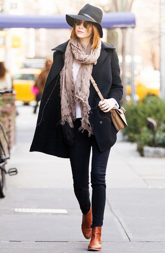 emma-Stone-boots Ladies Work Shoes - 20 Best Business Casual Shoes for Women