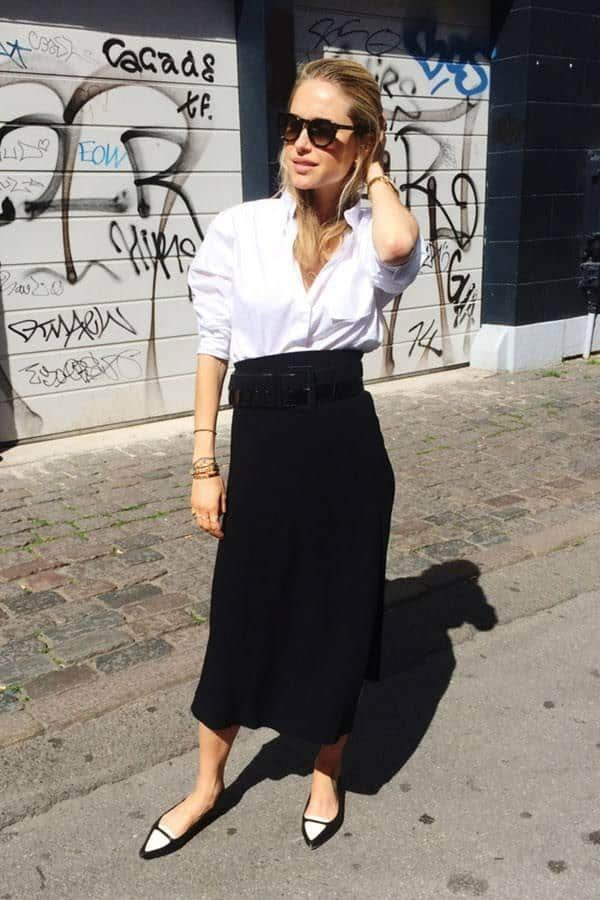 fashion-2015-11-white-shirt-outfit-ideas-work-high-waist-skirt-look-de-pernille-main-1 White Shirt Outfits-18 Ways To Wear White Shirts For Girls