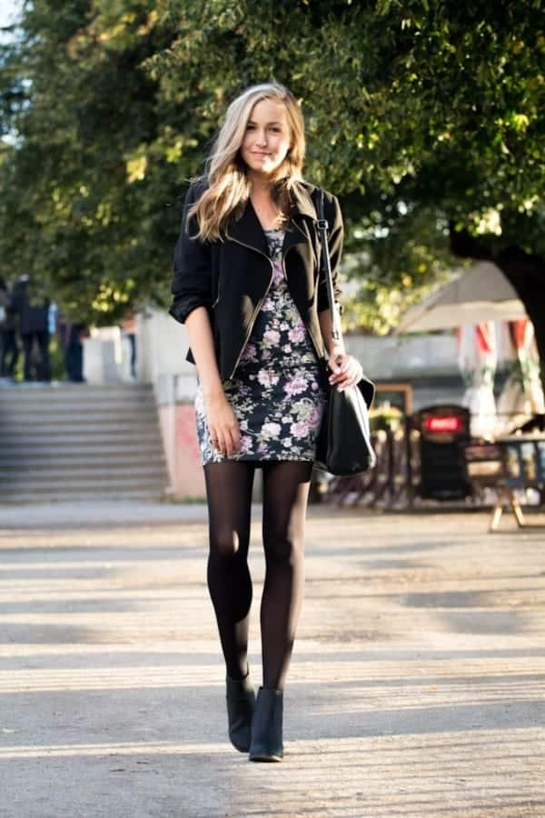 floral-dress-1 Outfits with Black Leggings – 21 Ways to Wear Black Leggings