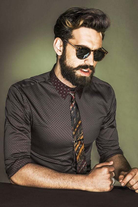 funky-formal Patchy Beard Styles- 40 Best Patchy Facial Hairstyling Ideas
