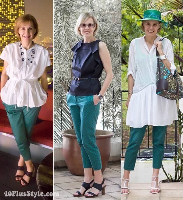 how to wear green printed capris