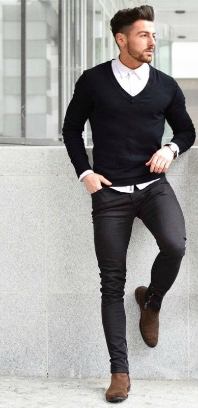 black jeans outfits for men 18 ways to wear black jeans guys. Black Bedroom Furniture Sets. Home Design Ideas