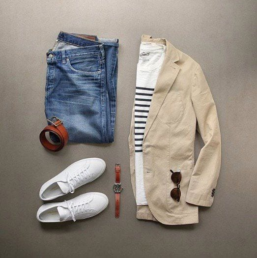 khaki-blazer-with-jeans Men Polyvore Outfits– 25 Best Polyvore Combinations For Guys