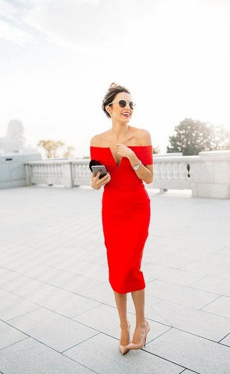 off-the-shoulder-red-midi-wedding-guest-dress Red Outfits For Women-18 Chic Ways To Wear Red Outfits