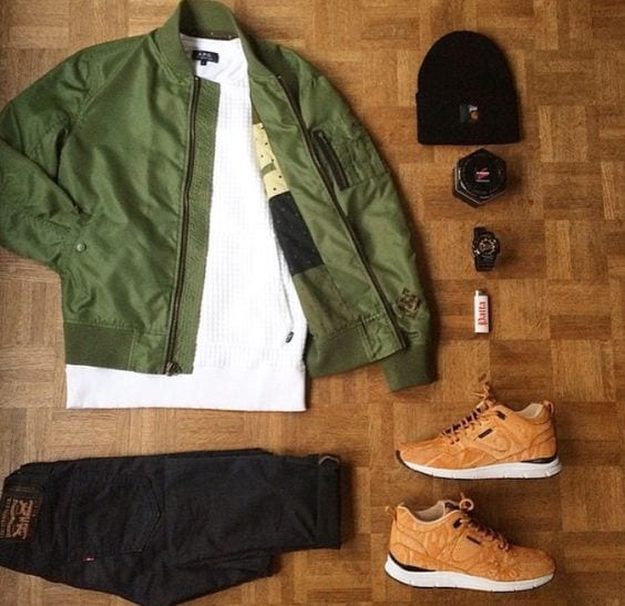 olive-bomber-jacket-with-black-jeans Men Polyvore Outfits– 25 Best Polyvore Combinations For Guys