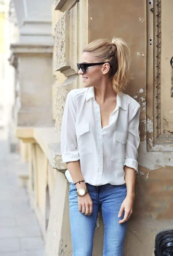 quick-and-easy-chic-outfit White Shirt Outfits-18 Ways To Wear White Shirts For Girls
