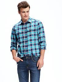 regular-fit-plaid-flannel-pocket-shirt-for-men-blue-showed-up Clubbing Outfits For Men-19 Ideas on How to Dress for the Club