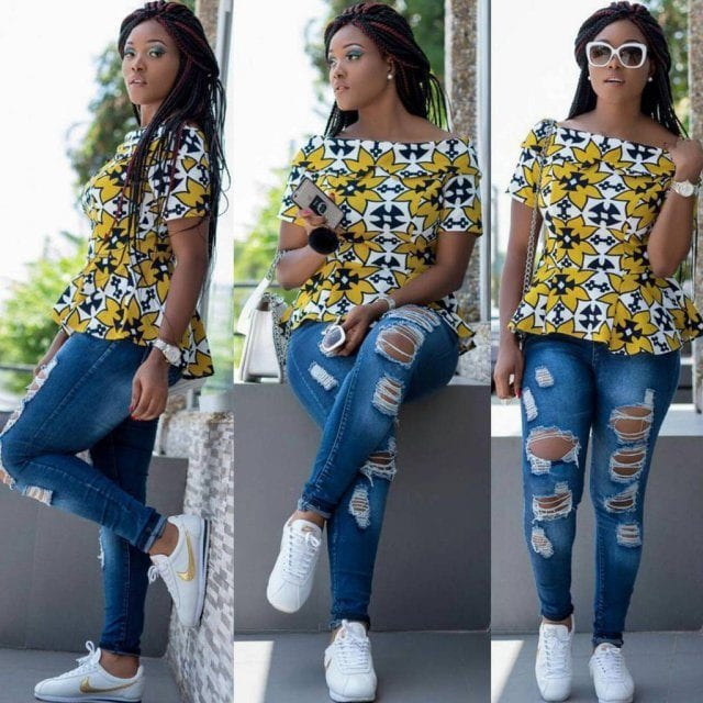ripped-jeans Kitenge Dresses for Young Girls-18 Cute Kitenge Ankara Dress
