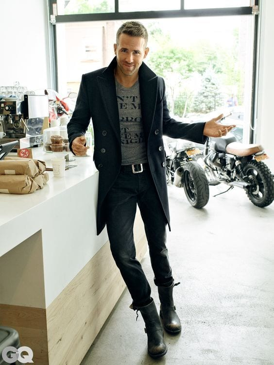 ryan-reynoldsovercoat-black Black Jeans Outfits for Men–18 Ways to Wear Black Jeans Guys