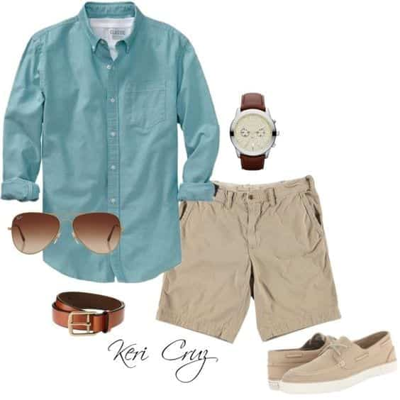 shorts-with-button-up-shirt Men Polyvore Outfits– 25 Best Polyvore Combinations For Guys