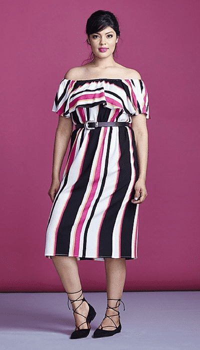 stripes Plus Size Date Outfits- 20 Ideas How To Dress Up For First Date