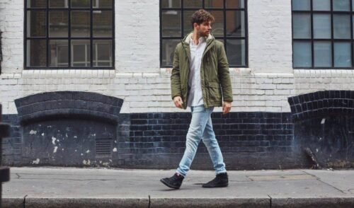 the-idle-man-slim-fit-jeans-stone-wash-green-parka-black-vans-for-men-988x580-1-500x294 Men Outfits with Jeans-30 Best Combinations with Jeans for Guys