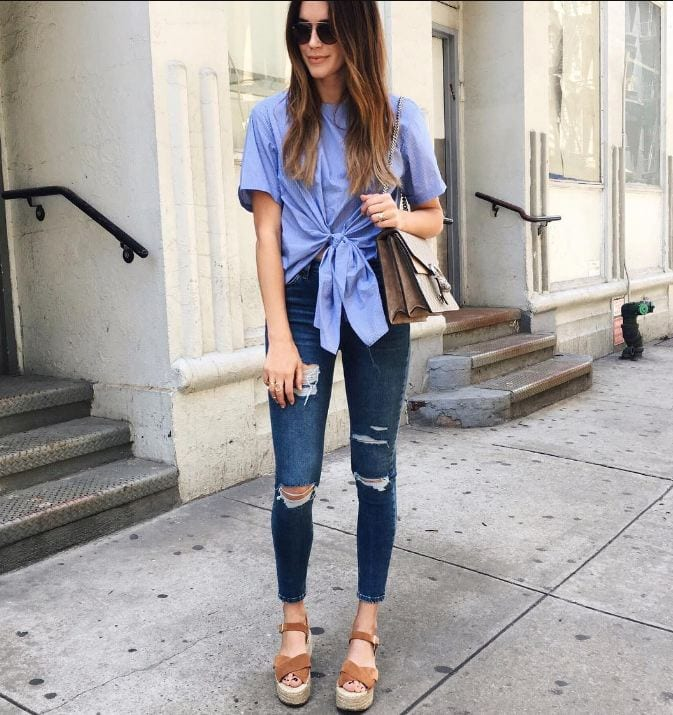 wedged-sandals-with-jeans Jeans Outfits in Heels - 20 Ways To Wear Jeans With Heels