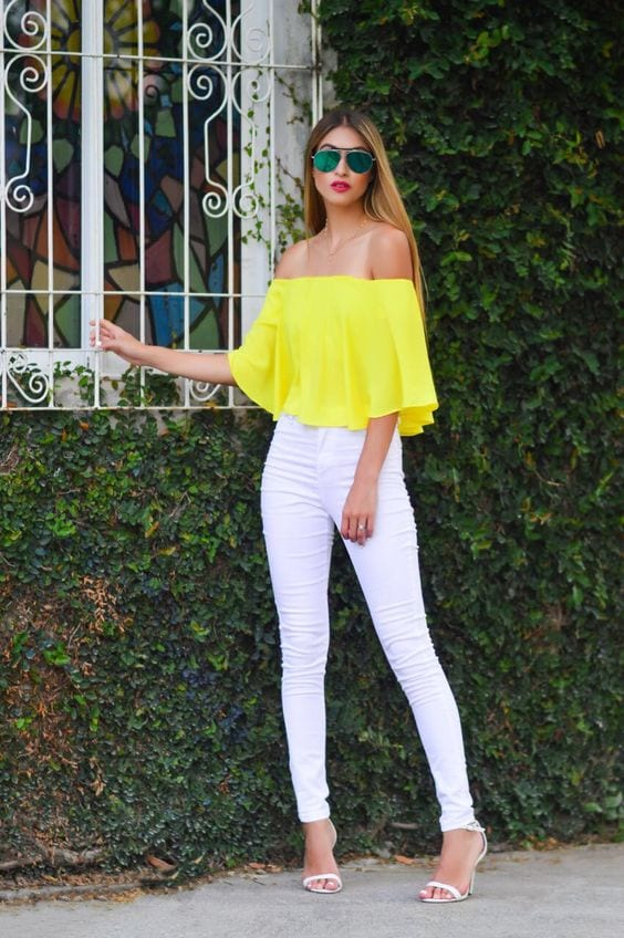 yellow-off-shoulder-top-and-white-pants Yellow Outfits For Women-14 Chic Ways to Wear Yellow outfits