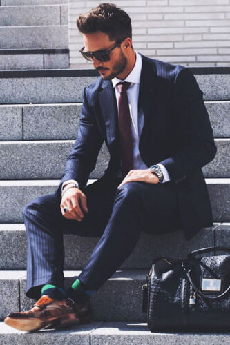 Blue-Pinstripe-Suit-Combinations-with-Brown-Shoes-1-333x500 20 Ways to Wear Blue Suits with Brown Shoes Ideas for Men