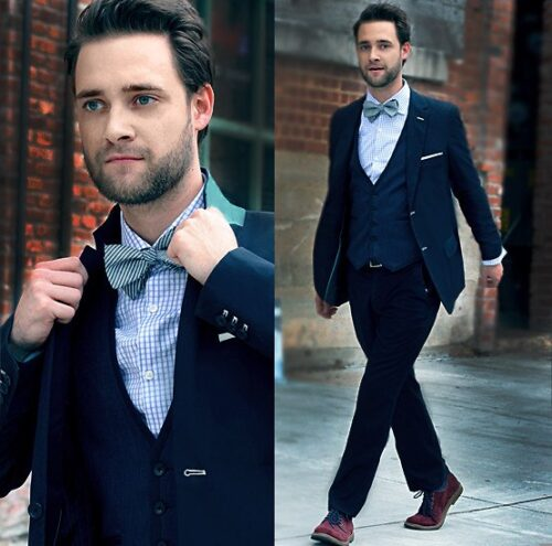 Blue-Suit-Brown-Shoes-Bow-Tie-500x495 20 Ways to Wear Blue Suits with Brown Shoes Ideas for Men